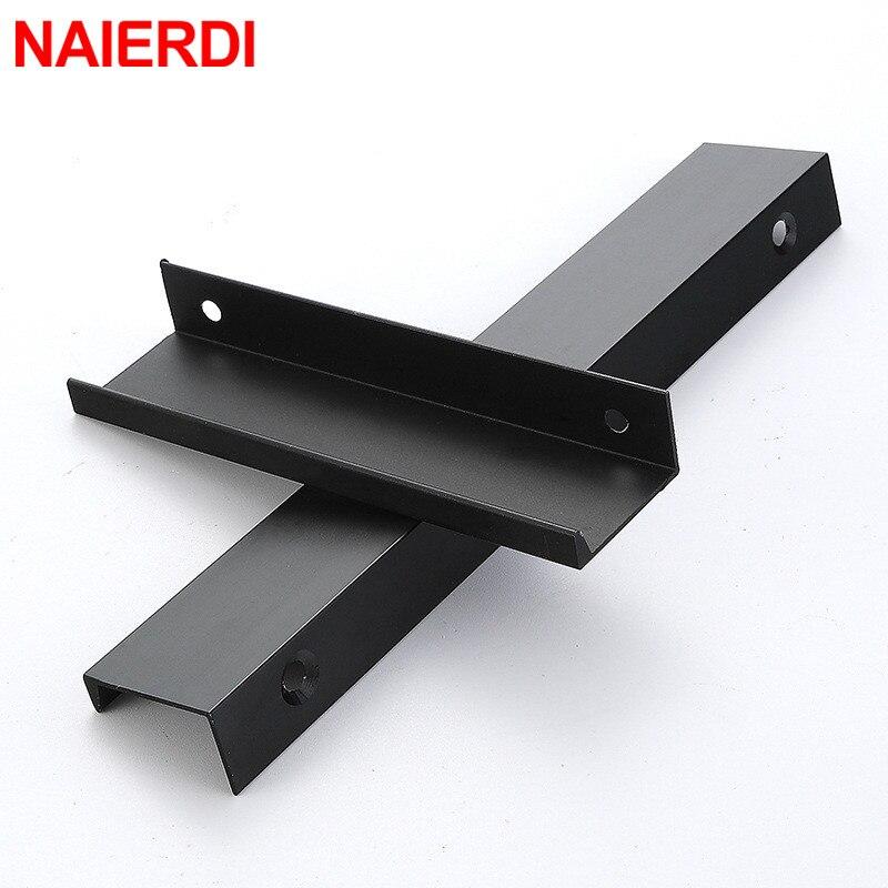 Купить с кэшбэком NAIERDI Black Hidden Cabinet Handles Aluminum Alloy Kitchen Cupboard Pulls Drawer Knobs Furniture Handle Bedroom Door Hardware