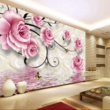 Fashion pink floral large mural wallpaper 5d space modern style waterproof wall covering TV sofa living bedroom household decor