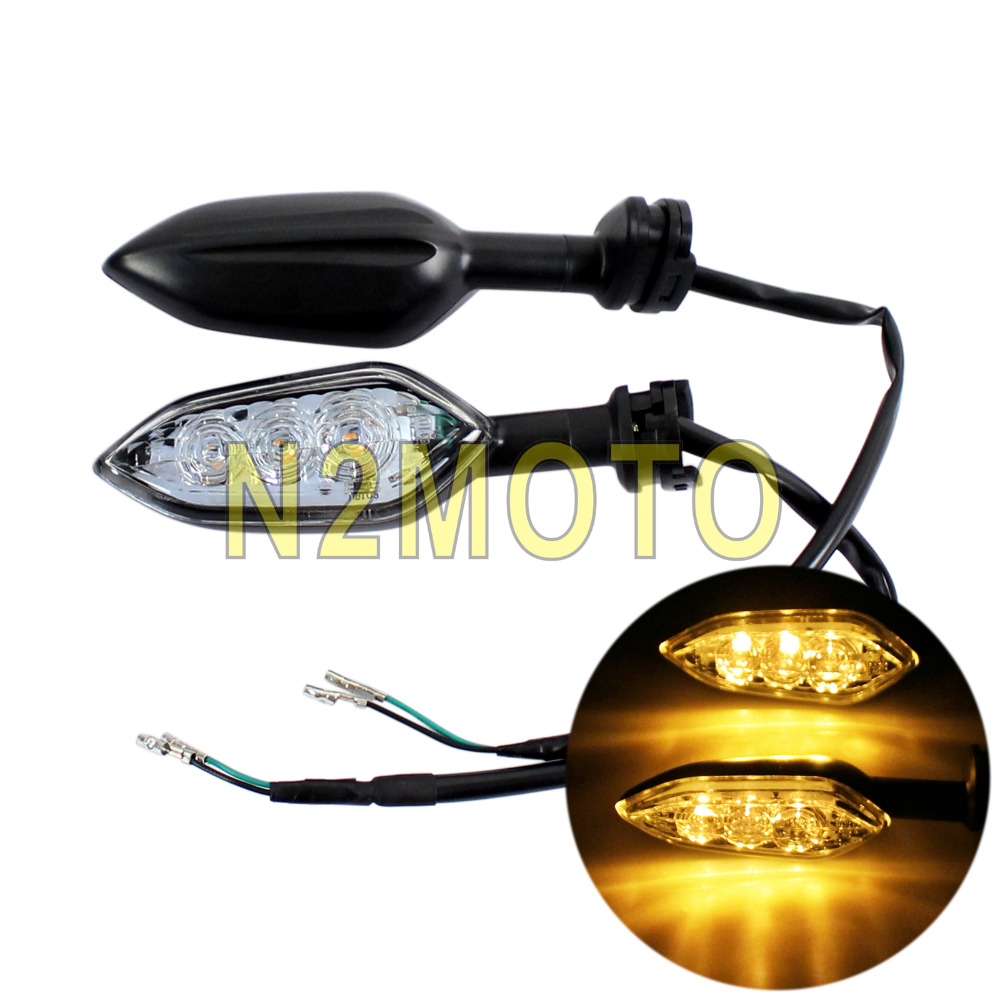4Pcs//Set  Motorcycle Front Rear LED Turn Signal Amber Indicators Lamp For Yamaha