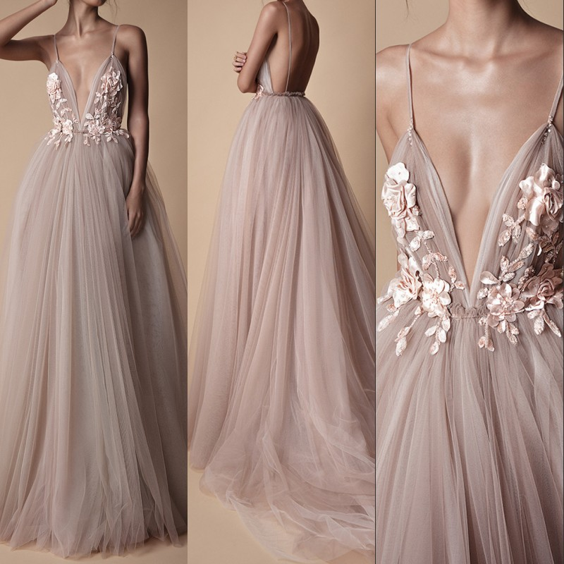 Sexy Tulle Long Evening Dress 2019 New Arrival Backless Court Train Flowers Blush A Line Special