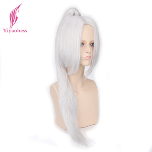 Image 2 - Yiyaobess 70cm sintético longo em linha reta branco preto cosplay peruca de cabelo com um rabo de cavalo perucas masculinas para homem