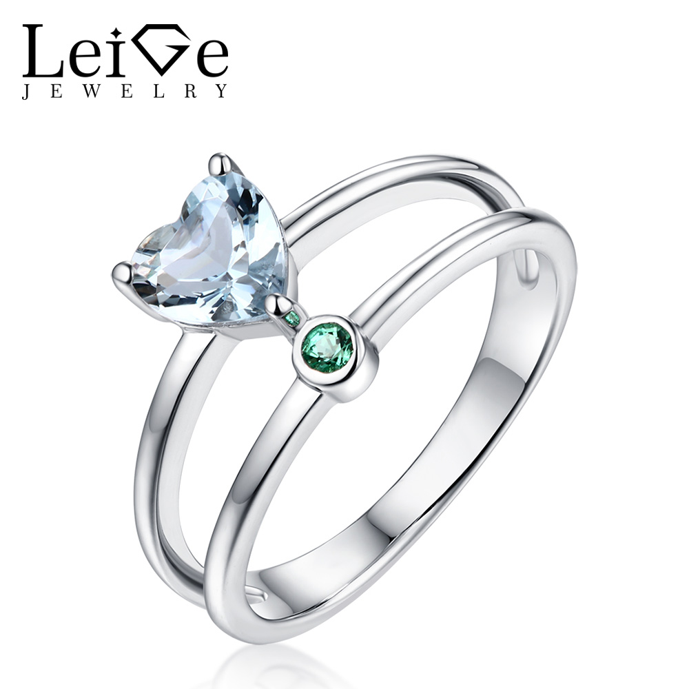 Leige Jewelry Aquamarine Ring Double Band Heart Cut Delicate Love Gift for Women Sterling Silver Wedding Rings March Birthstone delicate love delicate love de019ewhib03