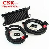Se encaixa para bmw e36/e46 m3 135/e90 335/640 preto 16 row óleo cooler com suporte mangueira kit