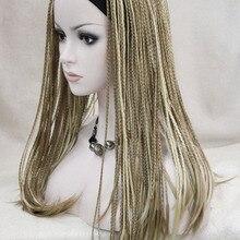 Светло-коричневый и бледный блонд Смешанные уникальные косички 3/4 полупарик с оголовьем