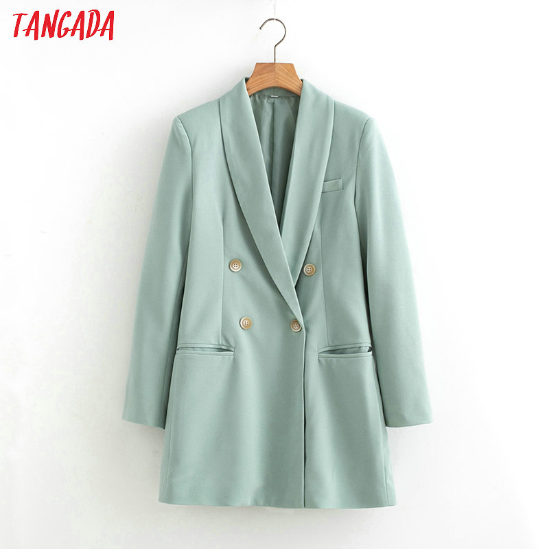 Tangada 2019 Women Suit Blazer Long Sleeve Ladies Coat Female Pockets Buttons Formal Blazer Work Office Business Suit Top SL433