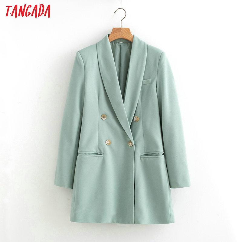 Tangada 2019 Women Suit Blazer Long Sleeve Ladies Coat Female Pockets Buttons Formal Blazer Work Office Business Suit Top SL433