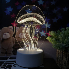 3D Jellyfish LED USB Touch Table Lamp Decoration Night Light