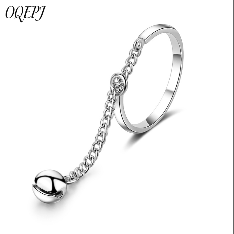 OQEPJ New Fashion Extended Chain Bell Adjustable Rings 925 Sterling Silver Personalized Opening Cute Simple Women Jewelry