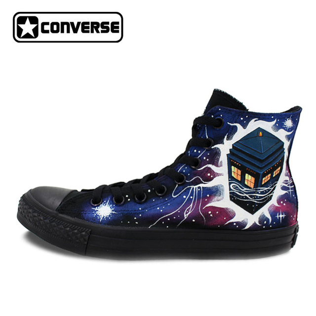 76cb236affb32d All Black Converse Chuck Taylor Men Women Hand Painted Canvas Shoes Design  Police Box Galaxy Athletic