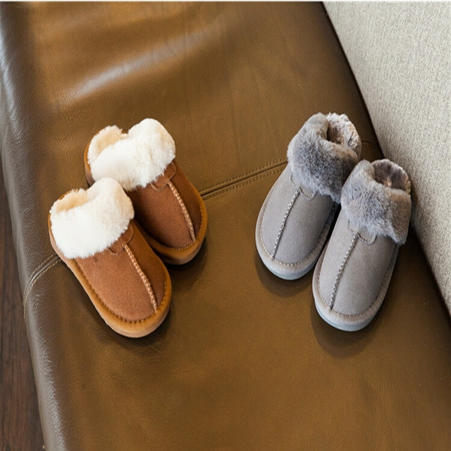 Thickening Winter Plus Velvet Keep Warm Leather Anti-slip Rubber Soled Solid Brown/Grey Color Flat Children Home Slippers