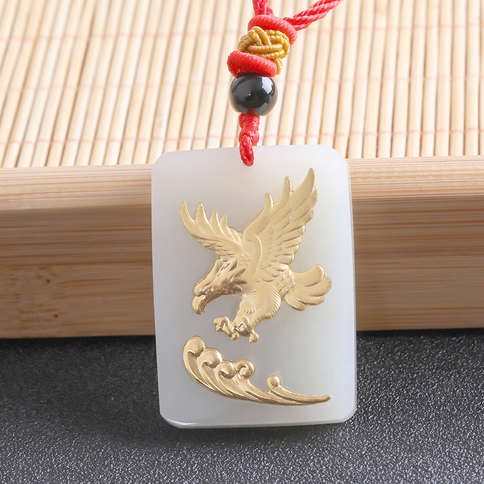 Natural Hetian Jade white Jade Mosaic Seize the opportunity Da zhan hong tu Eagle amulet Necklace +Certificate Fashion Jewelry