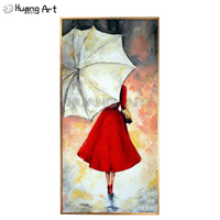Pure Hand painted Beauty Girl in Red Skirt Holding Umbrella Oil Painting on Canvas for Decor Rainy Day Landscape Figure Painting