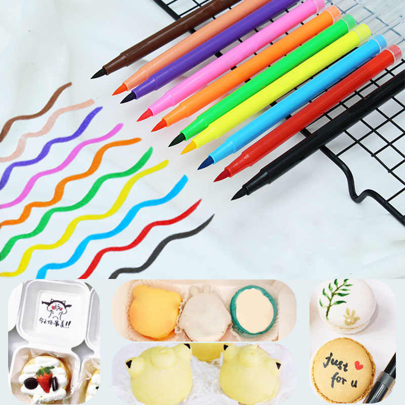10 Colors 5ML Fondant Cake Decorating Tools Edible Pigment Pen Portable Drawing Biscuits Food Coloring Pens Cake DIY Draw Tool