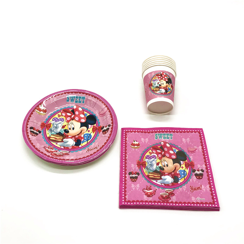 Shop For Cheap 34pcs/lot Disney Minnie Mouse Theme Design Girls Birthday Party Paper 12cup 12plate 12napkin Gender Reveal Minnie Table Tissue Event & Party