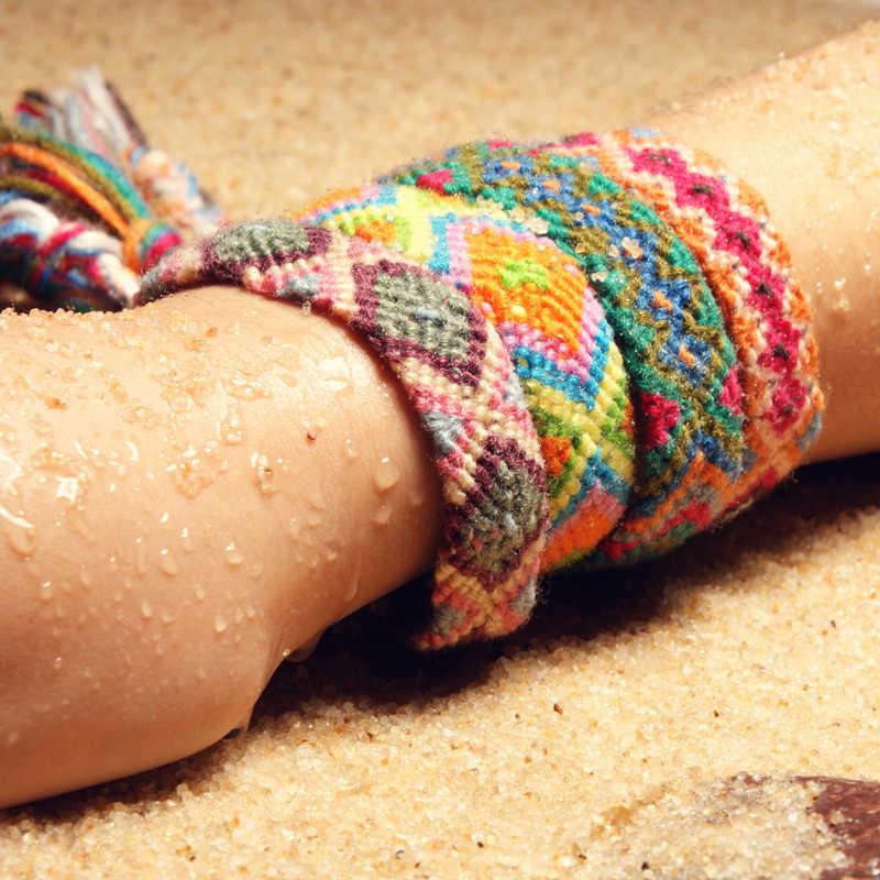 MOON для Бразилии Boho Плетеный Браслеты для Для женщин дружба Богемия Стиль handweave из хлопчатобумажного каната дешевые этнические амулет pulseras; Прямая поставка