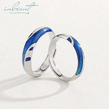inbeaut Silver Ocean Blue Water Couple Rings Flowing Love Stream S925 Ring Men and Women Wedding Jewelry for Lovers Gift