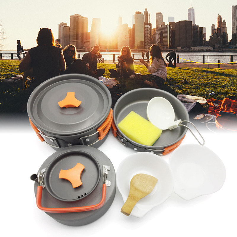 1/7/8/9/12pcs Outdoor Cooking Picnic Camping Bowls Cookware Tools Travel Hiking Cookware Bowl Pot Pan Utensils Set Kitchen Tools