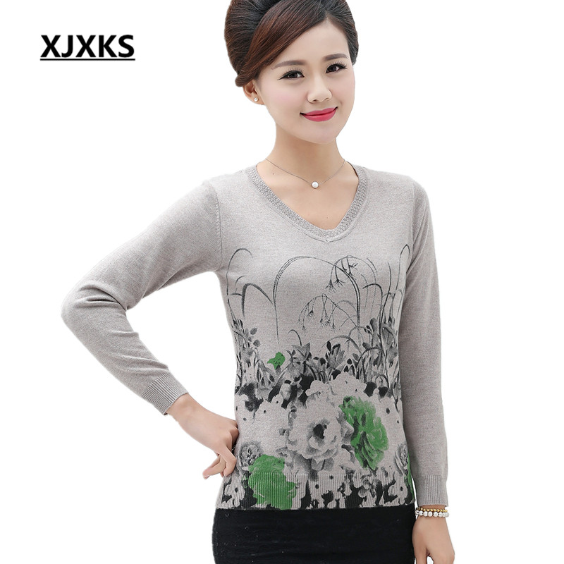 new 2017 sweater women fashion print floral pullover long sleeve tricot knitted women sweaters. Black Bedroom Furniture Sets. Home Design Ideas