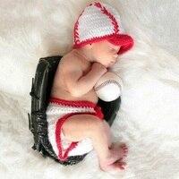 אבזרי תמונה תינוק בן יומו boy הסרוגה בייסבול כובע + מכנסיים סטי תינוקות boy פוטוגרפיה אביזרי אבזרי צילום ירי תמונה