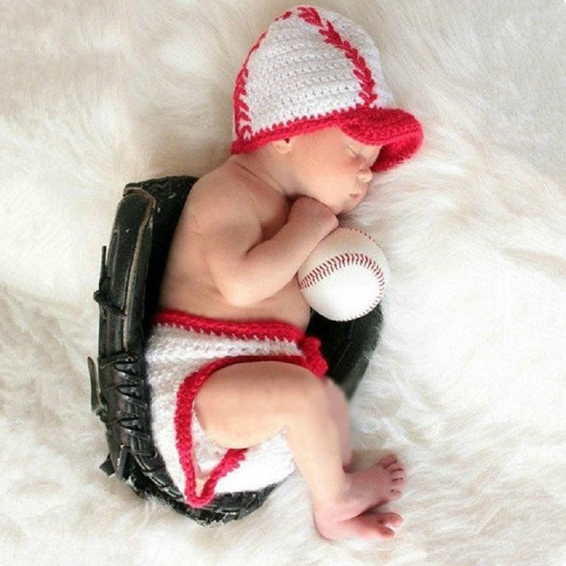 Newborn Baby Boy Photo Shoot Crochet Baseball Hat+Pants Props Outfit Infant Boy Photography Props Fotografia Accessories Clothes