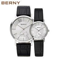 2017 Элитный бренд Берни пара влюбленных часы Для мужчин Для женщин моды кожа кварцевые наручные часы Повседневное Водонепроницаемый Lover час