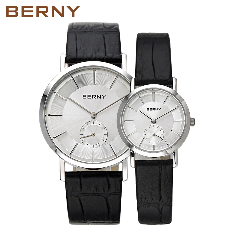 2017 Luxury Brand BERNY Couple Lovers Watches Men Women Fashion Leather Quartz Wrist Watch Casual Waterproof Lover Watches 2747 keep in touch couple watches for lovers luminous luxury quartz men and women lover watch fashion calendar dress wristwatches