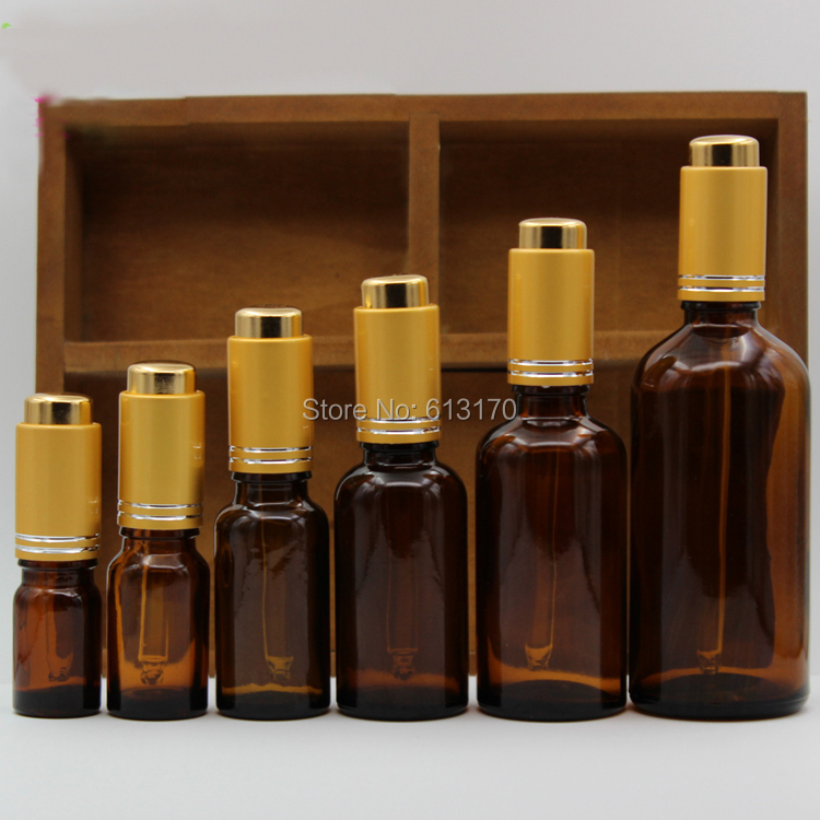 5ml,10ml,15ml,20ml,30ml,50ml,100ml Pipette Dropper bottles, Empty Amber Glass bottle,Essential Oil vials with gold Press Cap 10ml high grade tower type empty essential oil bottles gold plated crystal aromatherapy bottles page 2