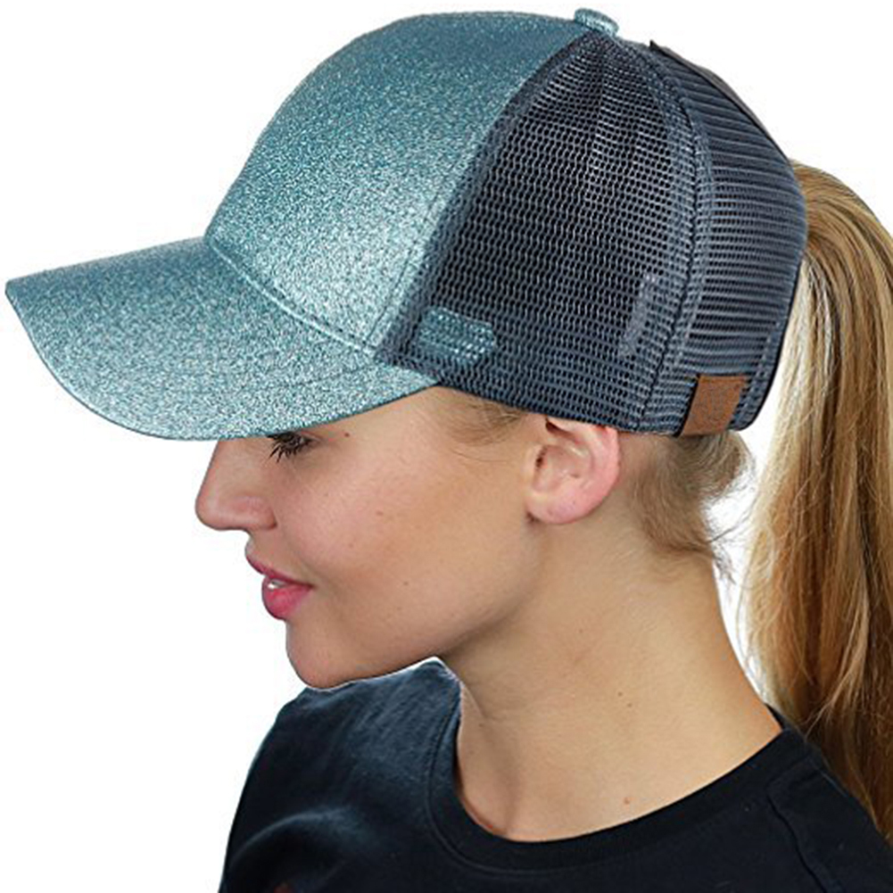 Glitter Ponytail Baseball Cap Women Messy Bun Baseball Hat Summer Mesh  Trucker Hat Snapback Girl Baseball Caps 8e82968670d