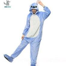 HKSNG Animal Adult Stitch Pajamas High Quality Flannel Cartoon Cute Onesies Cosplay Costumes Jumpsuits Pyjamas Kigurumi