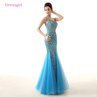 Blue Evening Dresses 2018 Mermaid One Shoulder Tulle Lace Beaded Elegant Women Long Evening Gown Prom