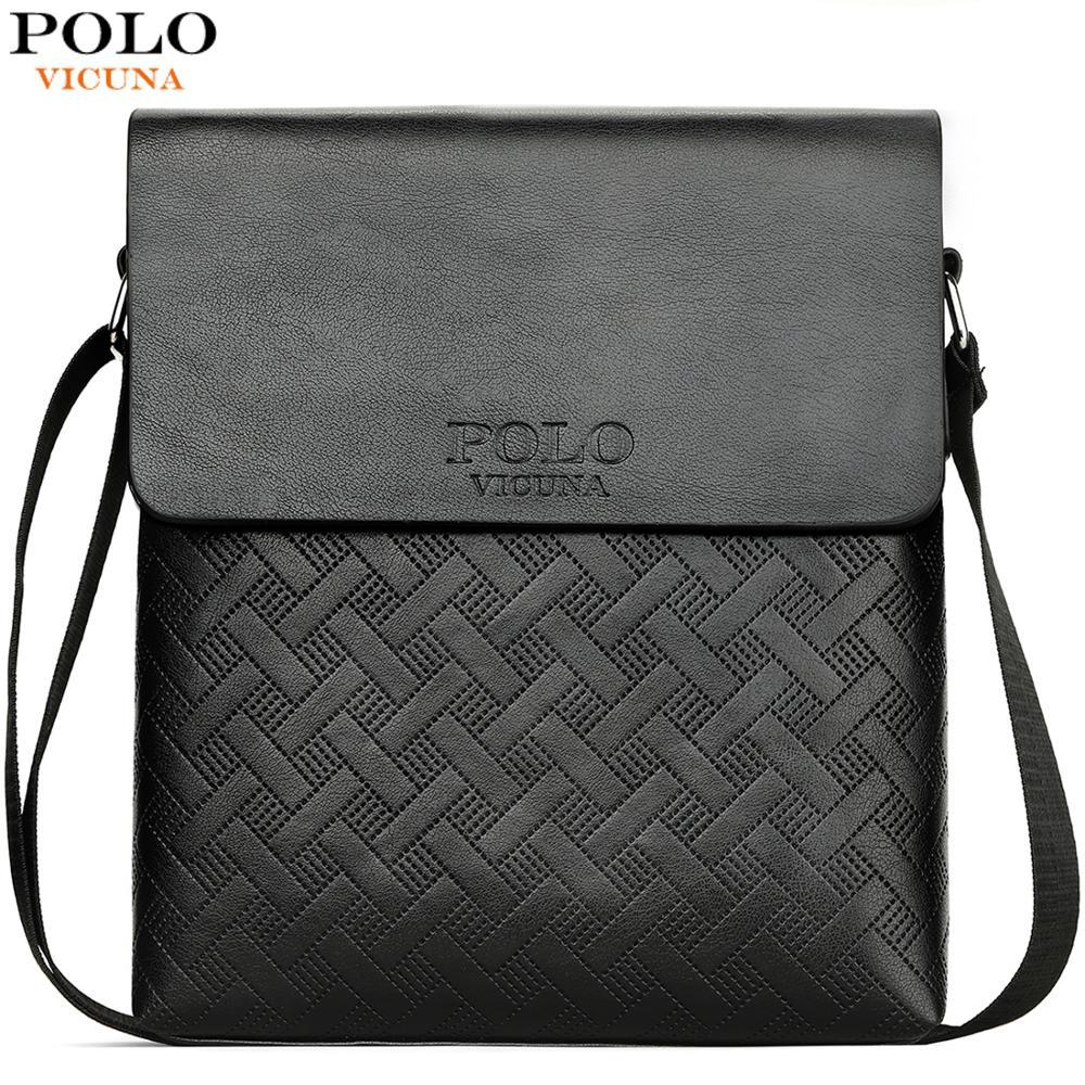 VICUNA POLO New Arrival Plaid Leather Men Business Shoulder Bag With Wallet Set Series Vintage Bag Set Brand Men Messenger Bag