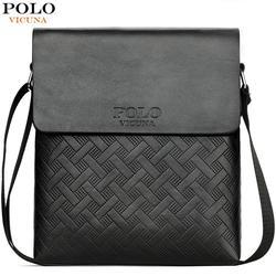 Vicunha polo nova chegada xadrez de couro dos homens bolsa de ombro com carteira conjunto série saco do vintage conjunto marca saco do mensageiro