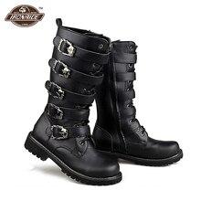Buty motocyklowe mężczyźni Punk Martin PU skórzane buty Moto Steampunk buty klamry pasa buty wojskowe połowy łydki buty ochronny sprzęt