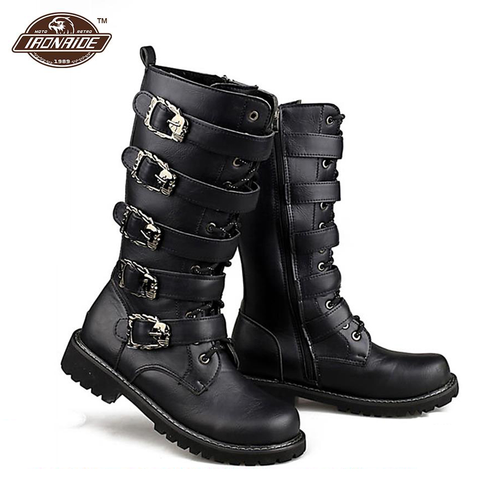 US $43.56 45% OFF|Motorcycle Boots Men Punk Martin PU Leather Boots Moto Steampunk Boots Belt Buckle Military Boots Mid calf Shoes Protective Gear in