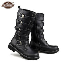Motorcycle Boots Men Punk Martin PU Leather Boots Moto Steampunk Boots Belt Buckle Military Boots Mid calf Shoes Protective Gear