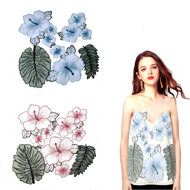 US $4 5 10% OFF|Organza embroidery patch cloth pastes pink flowers leaves  large patch hole patterns hand sewed decorative accessories-in Patches from