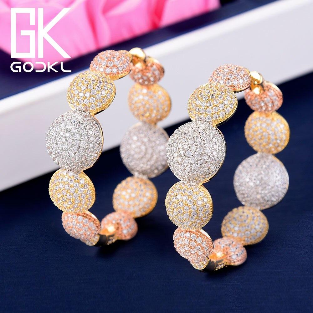 GODKI Luxury Bubble Ball Cubic Zirconia Statement Hoop Earrings For Women Wedding DUBAI Big Earrings Jewelry Accessories 2018-in Hoop Earrings from Jewelry & Accessories    1