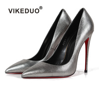 Vikeduo Hot Handmade Silver Classic Women Genuine Leather Shoes Wedding Party Dancing Dress Shoe Casual Shoes Women High Heel