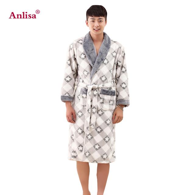 Anlisa Marca Roupas de Inverno dos homens Longa Túnica Sexy Robes Roupões De Banho para Homens Pijamas Roupões de Banho dos homens Cinza