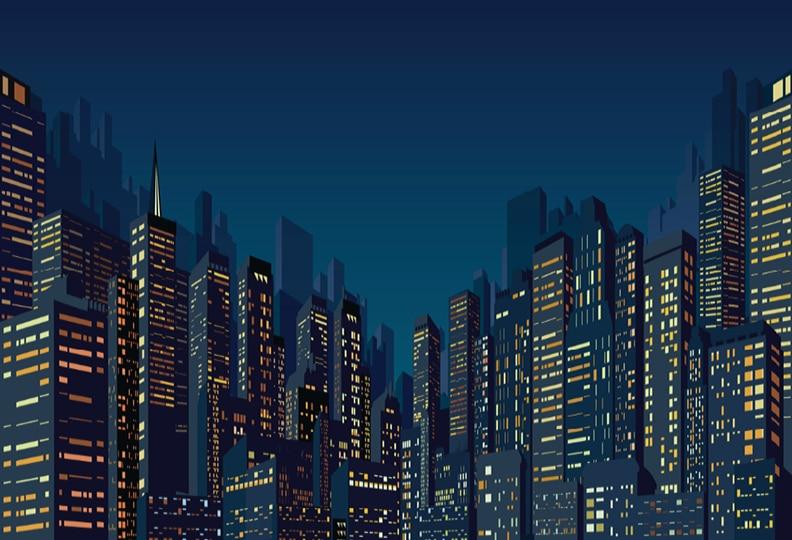 7x5ft Super Heroes Skyline City Buildings Night Sky Custom