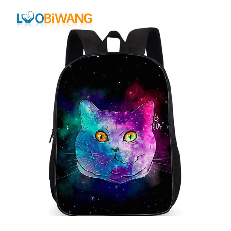 LUOBIWANG Galaxy Cheshire Cat School Backpack 3D Animal Kitten Backpack Book Bag Teen Backpack School Bags For Teenagers Girls