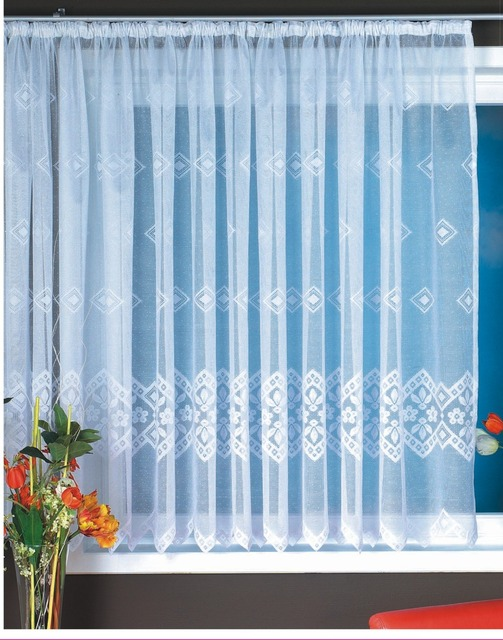 Chinese Sheer Curtains For Windows Polyester Lace White Big Window Curtains  300x145cm With Curtain Tape Knitted