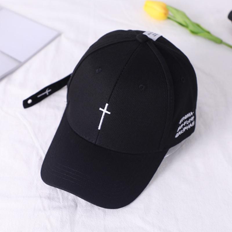2019new Simple Cross Embroidery Baseball Cap Hip Hop Streetwear Black White Hat Outdoor Visor Sun Hats Unisex Cotton Dad Caps