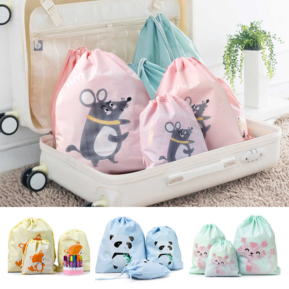 3Pcs/Set Travel Storage Bag Peva Cartoon Beam Mouth Seal Waterproof Clothing Sorting Bag Three Sizes For Choice