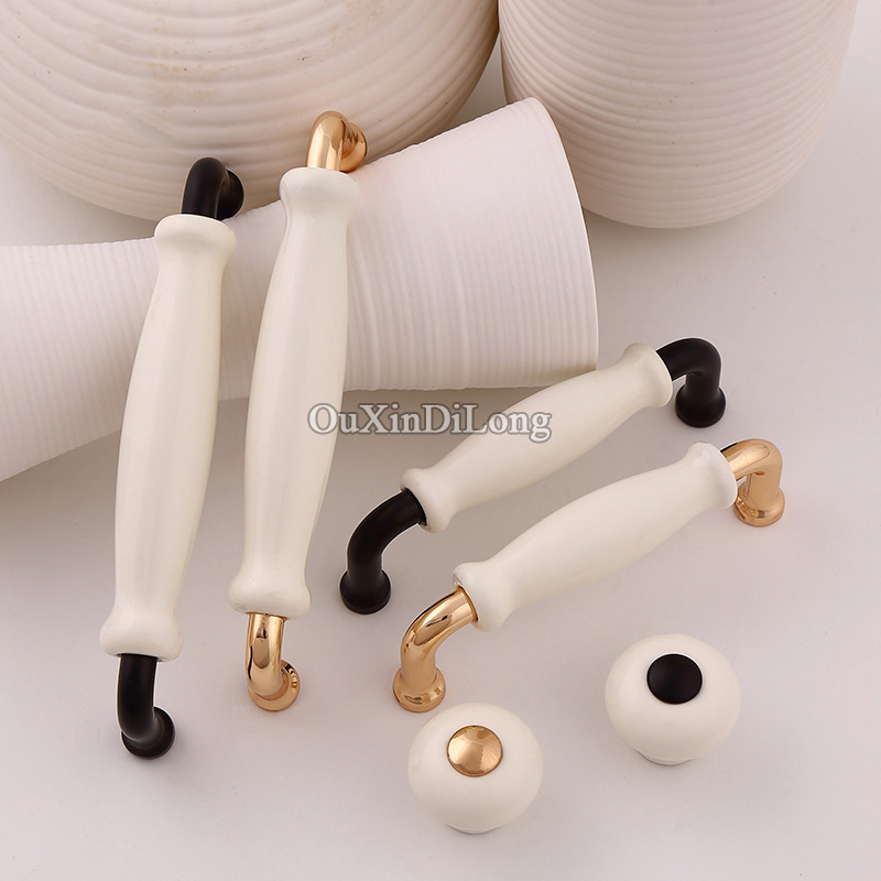 Luxury 10PCS European American Style Ceramic Kitchen Door Furniture Handle Cupboard Drawer Wardrobe Cabinet Pull Handles & Knobs