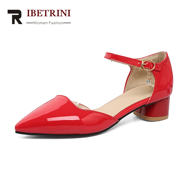 RIBETRINI 2018 Large Size 32-43 Pointed Toe Buckle Strap Woman Shoes Brand Design Summer sandals Shoes Women Chunky Heels Shoes lankarin brand 2017 summer woman pointed toe flats ladies platform fashion rivet buckle strap flat shoes woman plus size