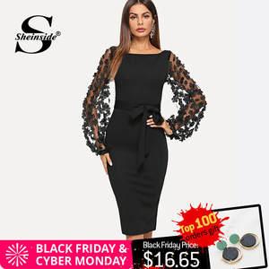 8fa46eecd85 Sheinside Elegant Bodycon Party Dress Sleeve Women Autumn
