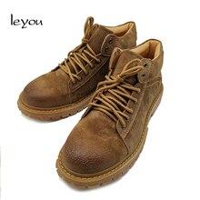 Мужская обувь с высоким берцем; сезон осень-зима; рабочие туфли-оксфорды из натуральной кожи; ботильоны; повседневные ботинки; Новинка