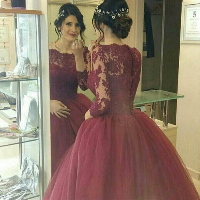borgoña vestidos de novia de estilo Árabe vestido de bola vestidos