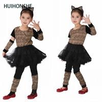 حيوية huihonshe جميل طفلة تأثيري الملابس المشاغب جميلة ليوبارد الفتيات عيد هالوين كرنفال حزب اللباس